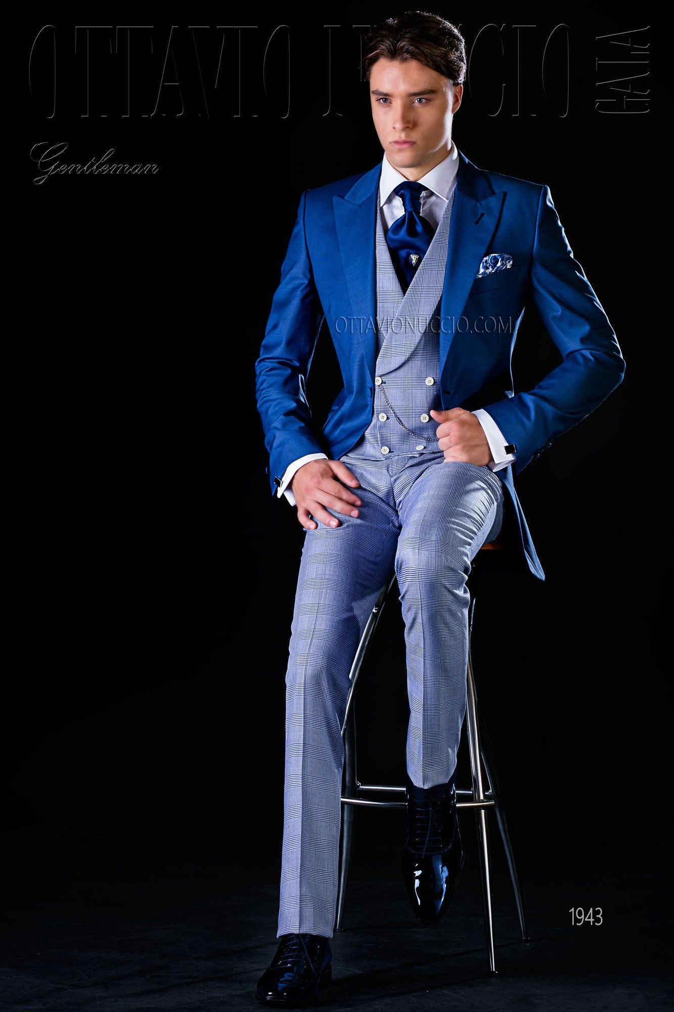 Royal blue long tail suit groom wedding tuxedo royal