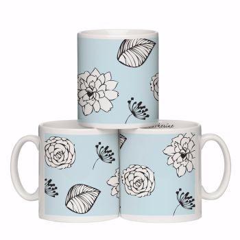 Personalised Modern Floral Blue Mug