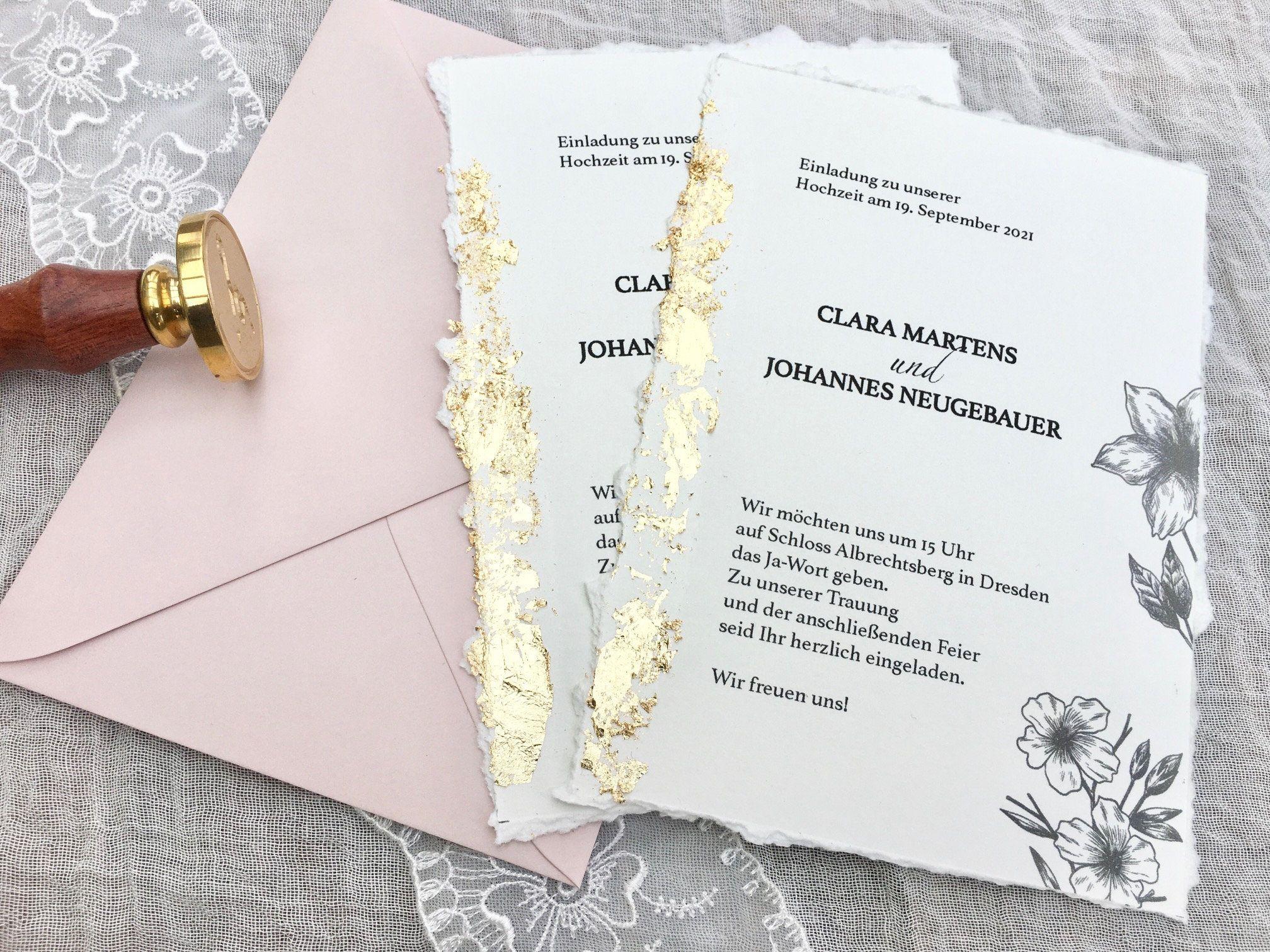 Hochzeitskarte mit Blattgold, Hochzeitseinladung, Einladung zur Hochzeit, weddingcard, Einladungskarte zur Hochzeit, Büttenrand