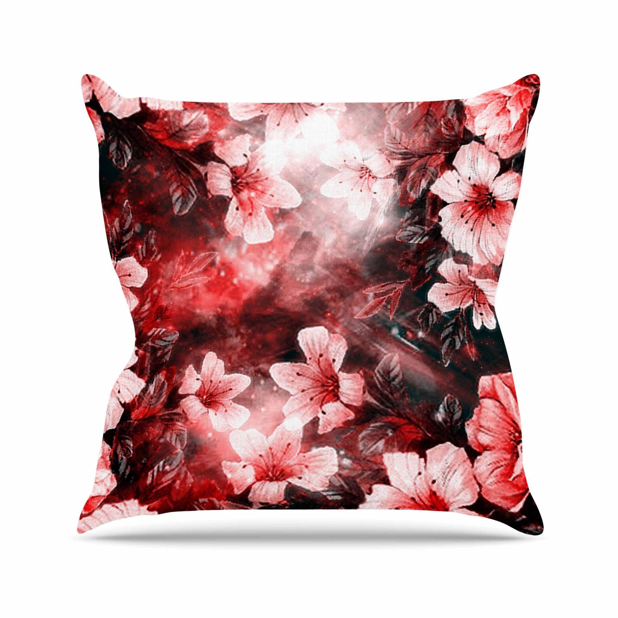 "Shirlei Patricia Muniz ""Garden Secret"" Red Black Throw Pillow"