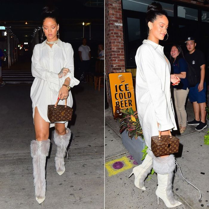 Rihanna Jan-Jan Van Essche striped shirt, Rihanna x Manolo Blahnik fur boots, Louis Vuitton Twisted Box handbag, Chopard Happy Hearts pavé diamond bracelet