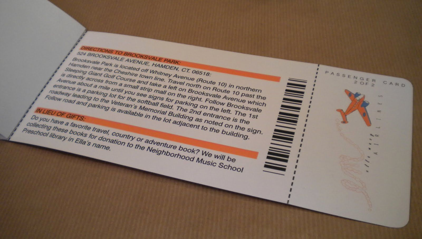 Invitation Card Boarding Pass Rear Side Add Lucky Draw