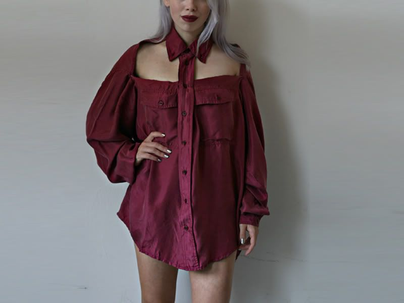 DIY | Burgundy Cut Out Shirt
