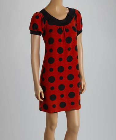 Another great find on #zulily! Rust & Black Polka Dot Sweater Dress #zulilyfinds