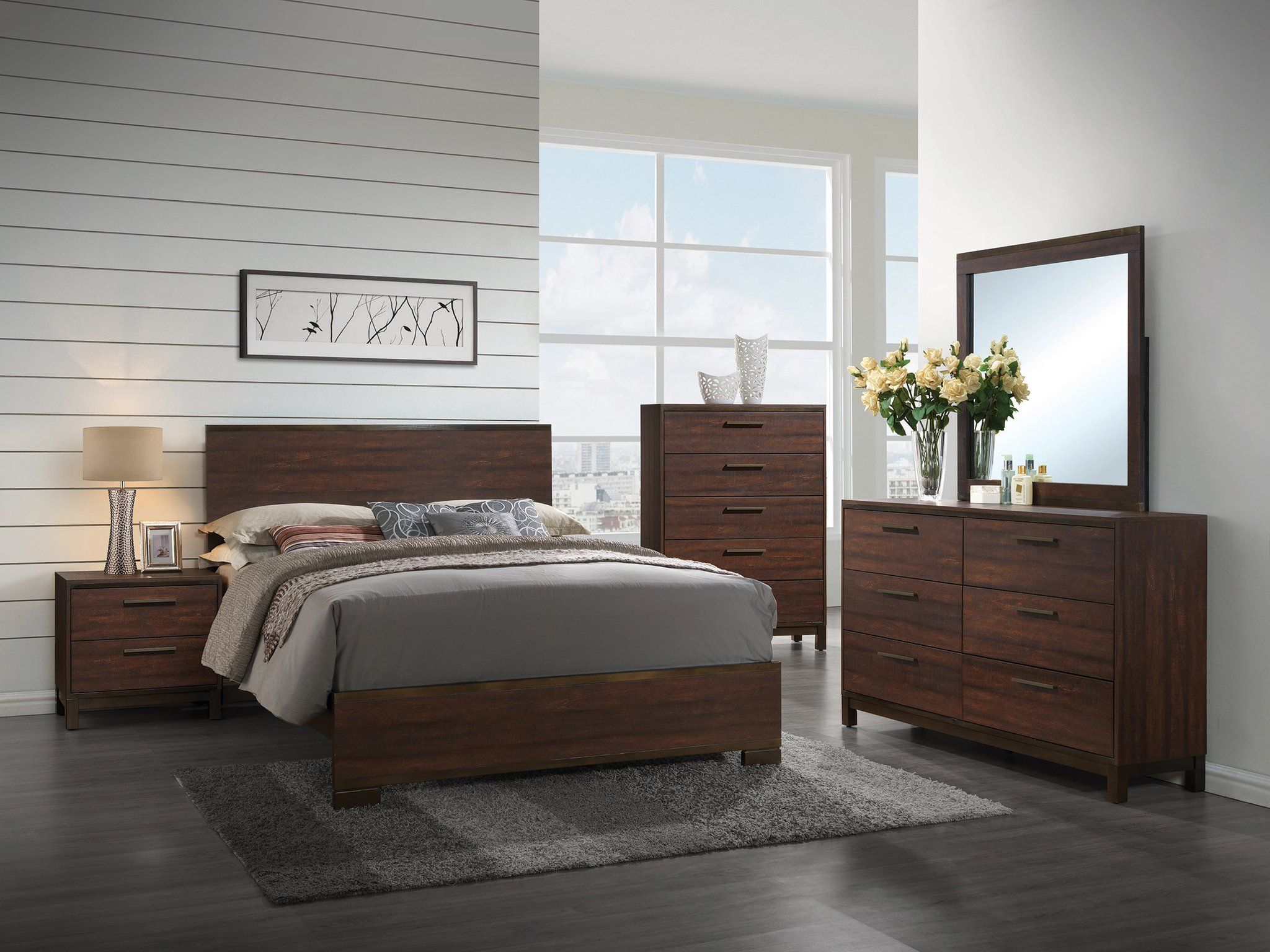 Coaster Edmonton Rustic Dark Oak 4 Piece Queen Bed Bedroom Set