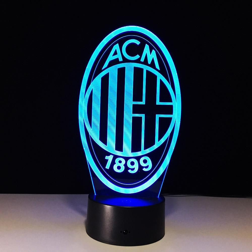Ac Milan 3d Optical Illusion Led Lamp Hologram 3d Optical Illusions Touch Lamp Optical Illusions
