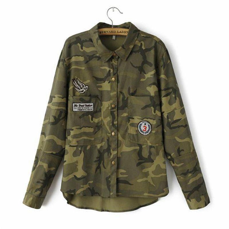 2016 moda de manga larga chaqueta militar mujers abrigo verde militar  chaquetas delgado bordado blusas mujeres a68376b5e8d