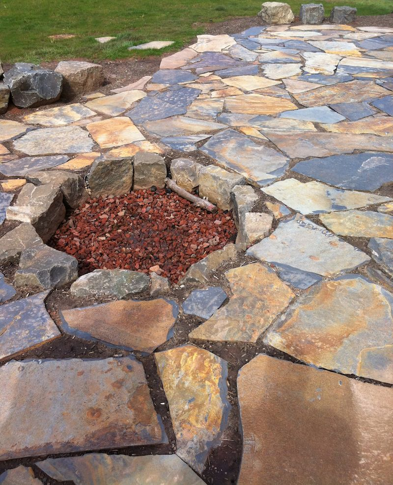 Iron Mountian Fagstone Patio and Firepit Landscape