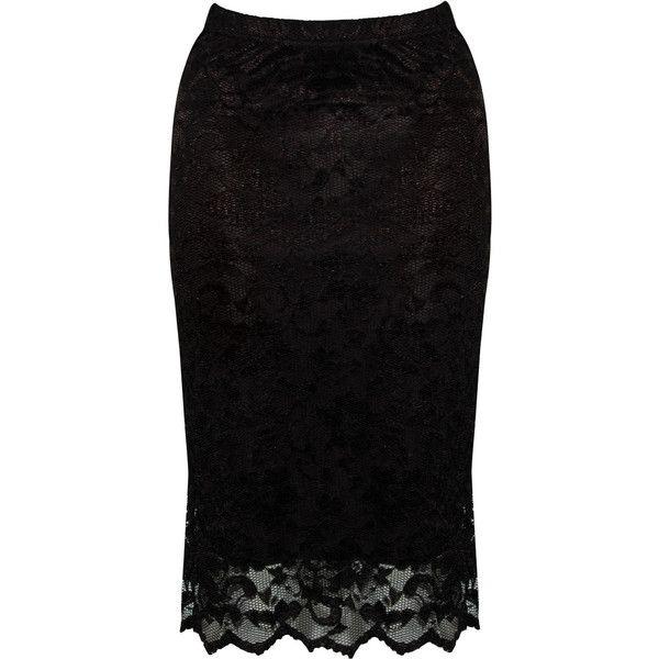 Rare London Lace Midi Skirt ($25) found on Polyvore