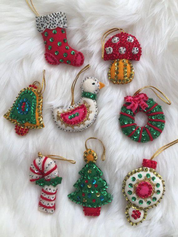 Vintage Bucilla Felt Christmas Ornaments Set Of 8 Comes With A Bell Bird Mushroom Tree Wrea Felt Christmas Ornaments Felt Crafts Christmas Felt Christmas
