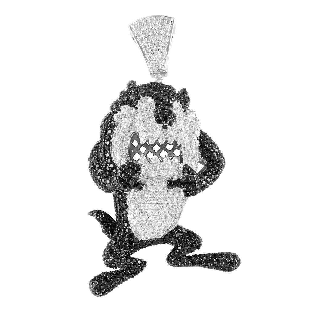 Black white lab diamond cartoon tasmanian white gold finish pendant black white lab diamond cartoon tasmanian white gold finish pendant aloadofball Choice Image