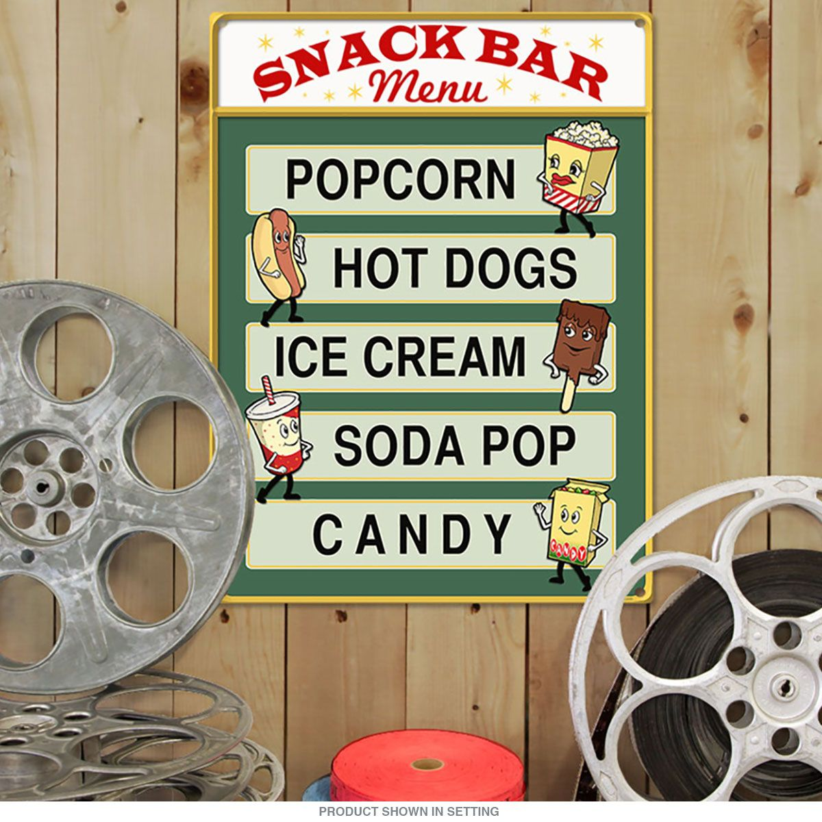 Theater Room Snack Bar: Snack Bar Menu Popcorn Hot Dogs Home Theater Sign