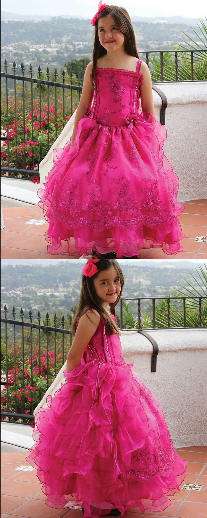 Double spaghetti straps red appliqued ball gown pageant dress for