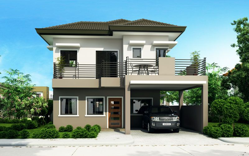 Sheryl four bedroom two story house design pinoy for Exterior 2 story homes