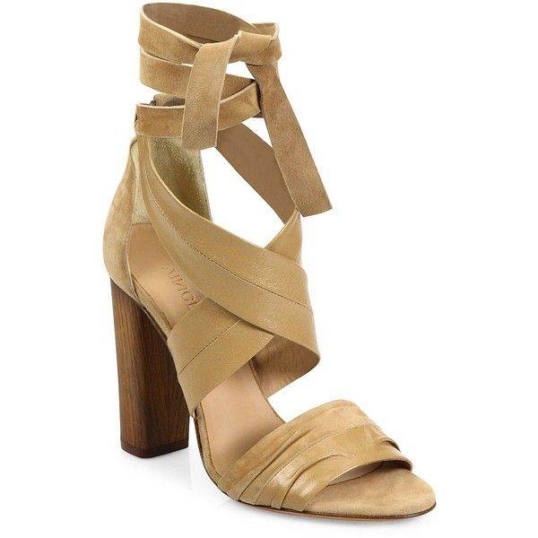 Vince Beatrice Leather & Suede Wraparound Block-Heel Sandals (200 CAD) ❤  liked