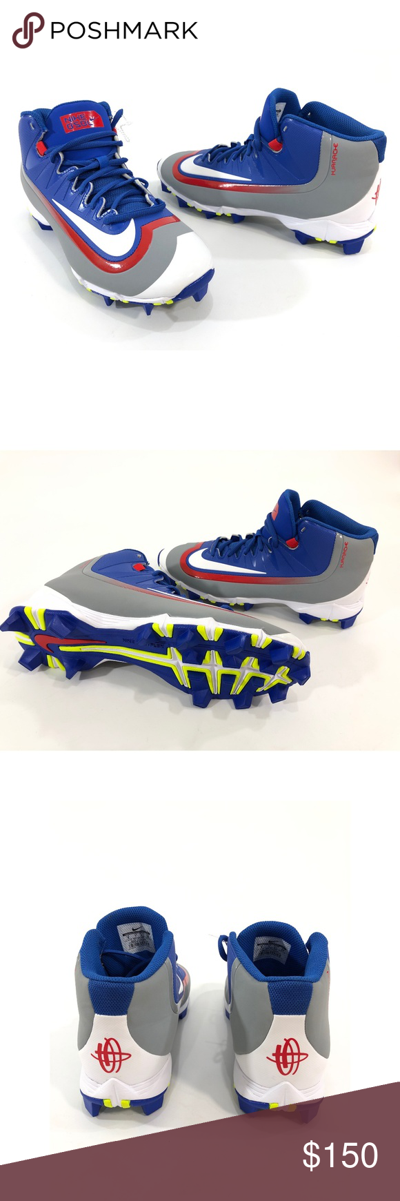 fa4c28d71 Nike Huarache Mid Molded Men s Baseball Cleats NIKE 807141-460 Nike  Huarache Mid Molded Men s baseball cleats Size 7.5 and 8 Blue   White   Red  High top New ...