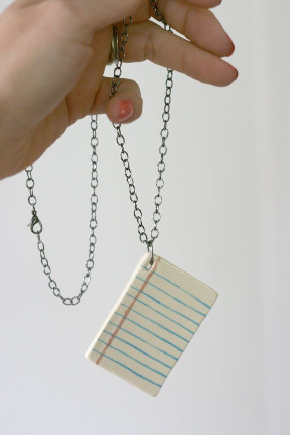 Lined Page Ceramic Necklace by MangoTreeCeramics on Etsy Book - lined page