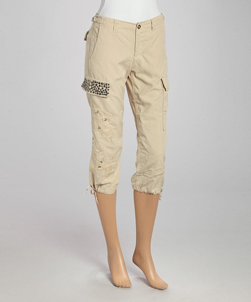 Look at this #zulilyfind! Khaki Studded Cropped Silk-Blend Cargo Pants by Da-Nang #zulilyfinds