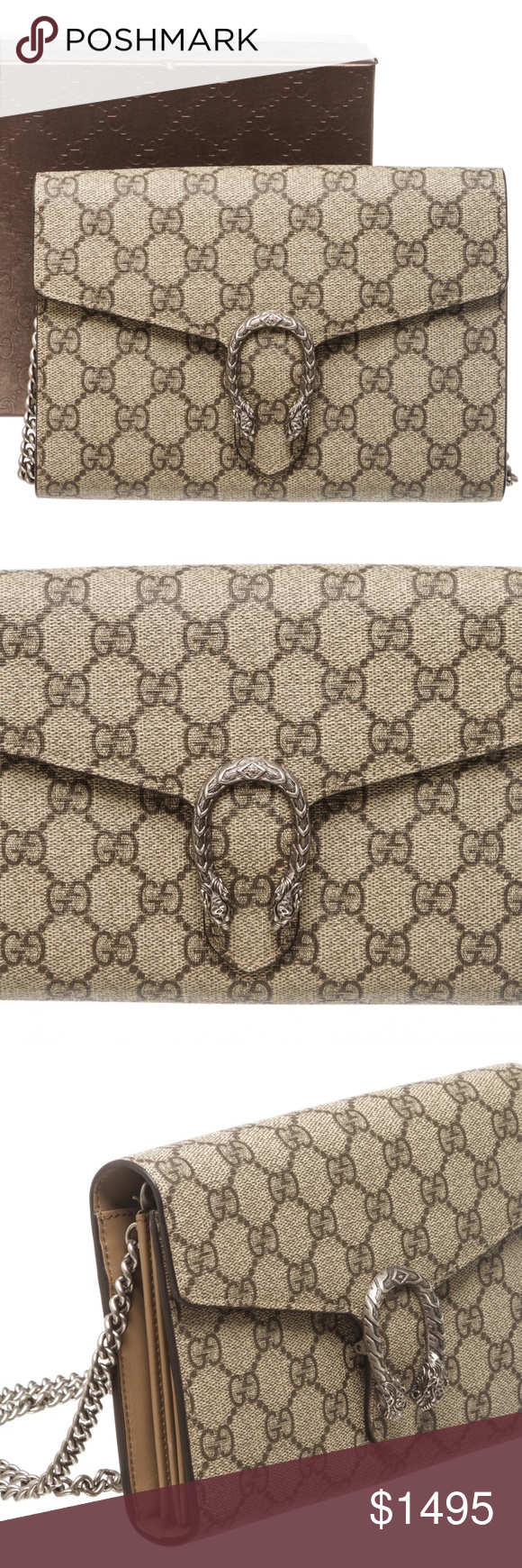 2e03f609cc0 Gucci GG Supreme Dionysus Chain Wallet Bag Brown and beige GG Supreme  coated canvas Gucci Dionysus