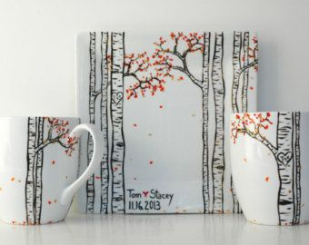 Birch Tree Forest 3 Piece Personalized by MaryElizabethArts