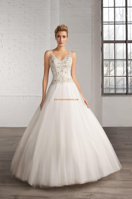 Robe de mariée tulle sans manches dos transparent princesse col en  v