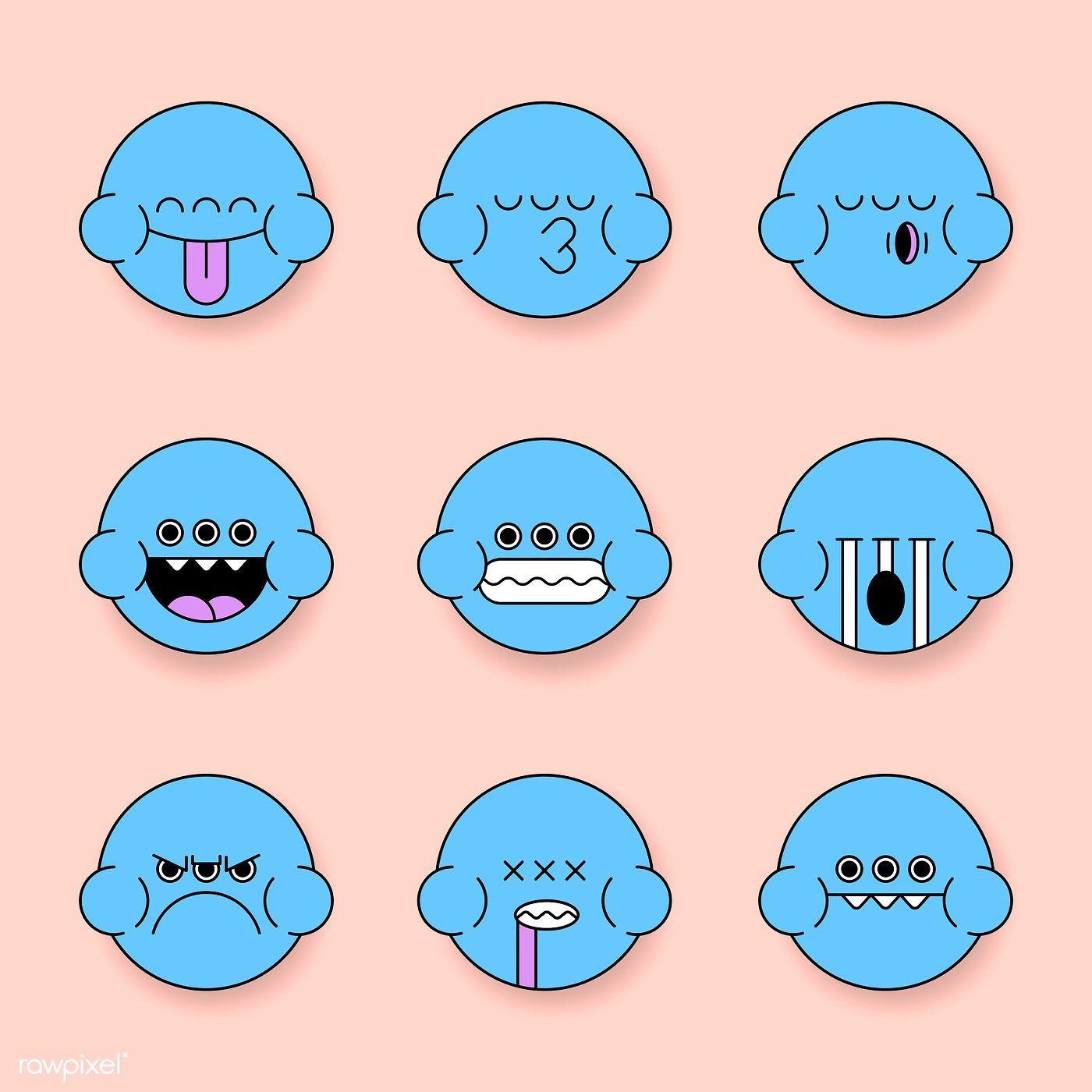 Blue monster frog emoji sticker set vector free image by