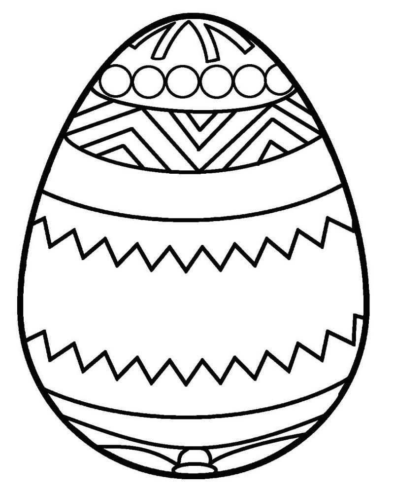 Blank Easter Egg Template Coloring 001 in 2020 Coloring