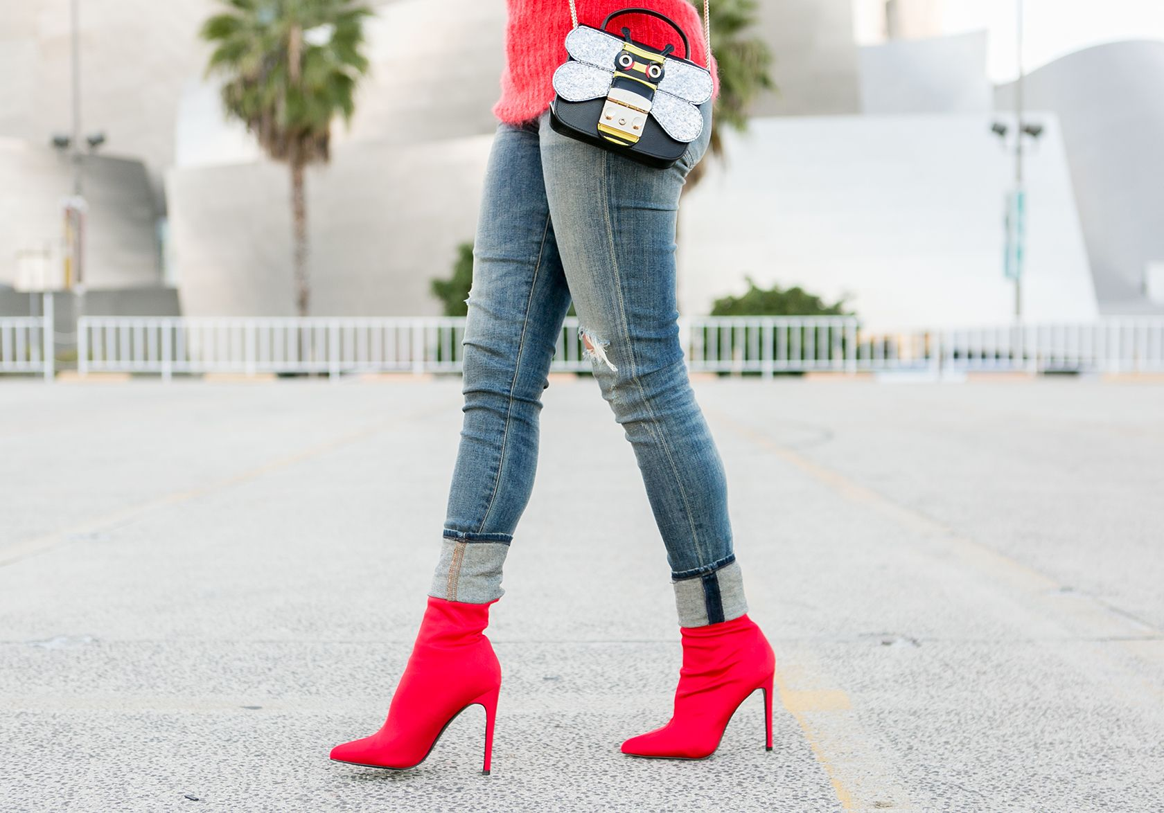 Sydne Style shows the best red booties online in steve madden sock boots # shoes #