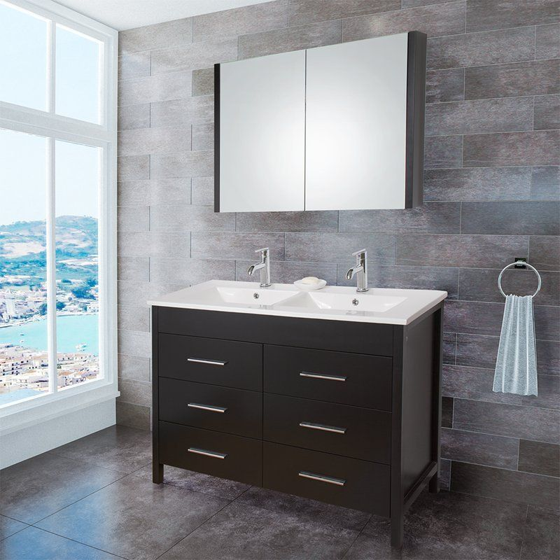 """View the Vigo VG09042K Maxine 48"""" Bathroom Vanity Cabinet with Vanity Top, Integrated Sink, and Medicine Cabinet - Pop Up Drain Included at Build.com."""