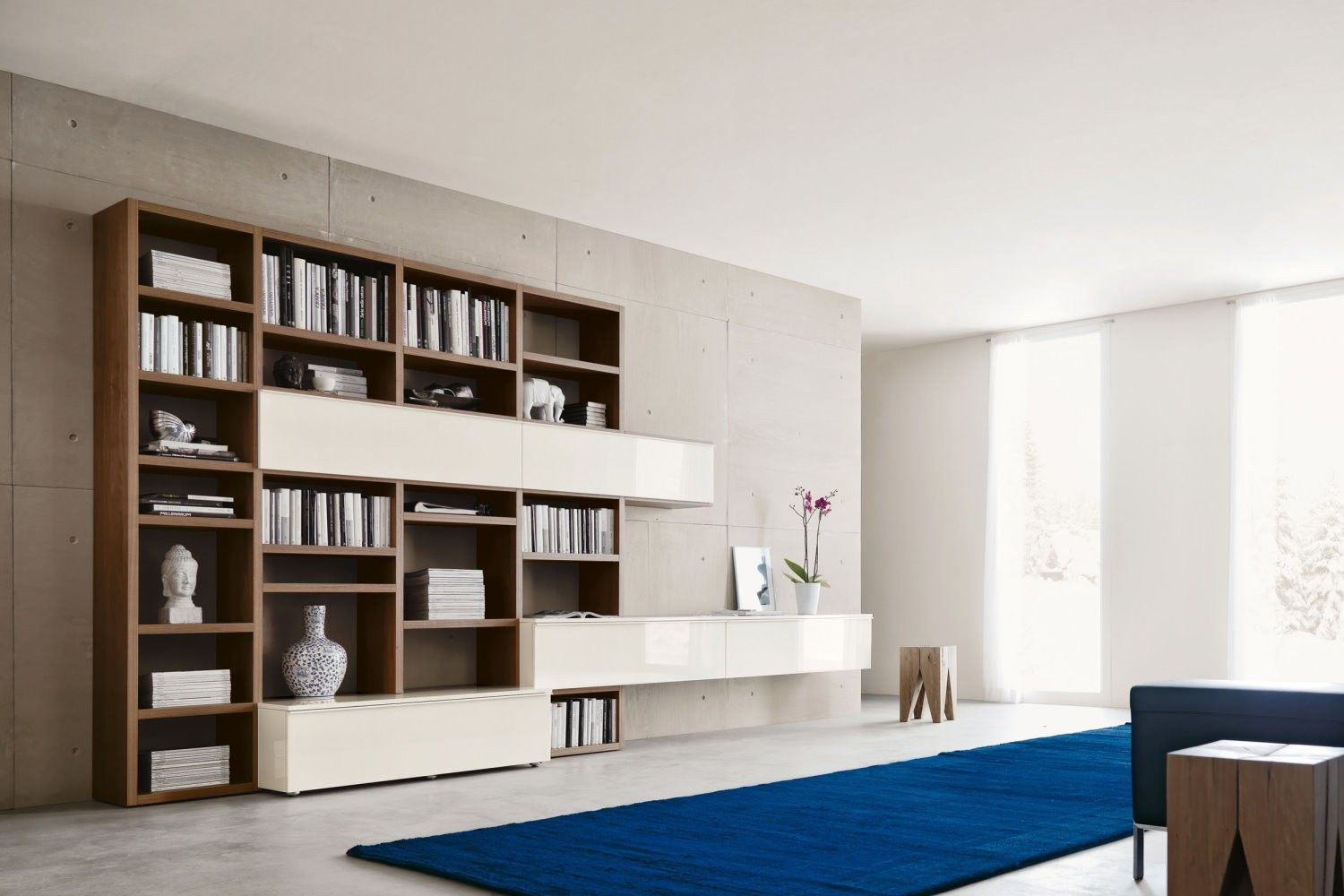 Parete Attrezzata con Libreria 553 - NAPOL.IT | TV wall unit ...