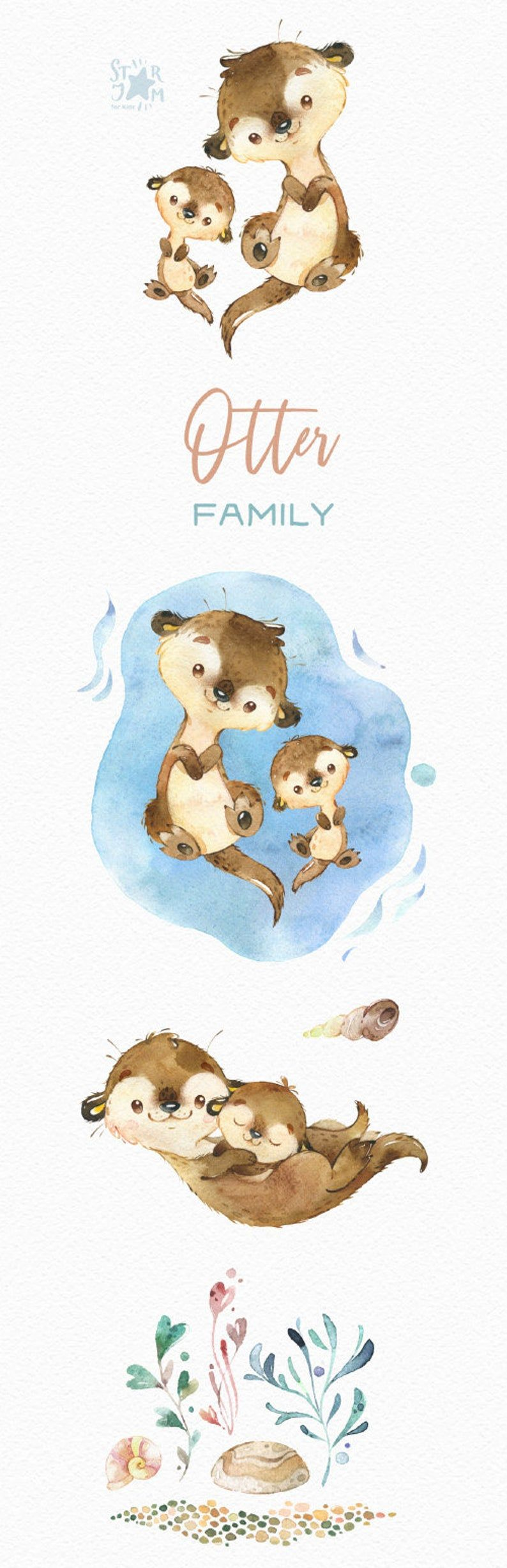 Otter Family Watercolor Little Animal Clipart Mother Baby Love Seaweed Birthday Sea Swimming Greeting Baby Born Baby Shower Animal Clipart Clip Art Otters