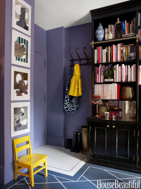 Designer David Kaihoi Tricks The Eye In His Tiny East Village Apartment With Bold Colors Deep Violet Pops Of Yellow Actually Enlarges Entryway
