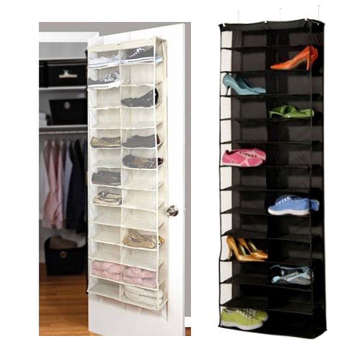 pocket shoe rack storage organizer holder folding hanging door