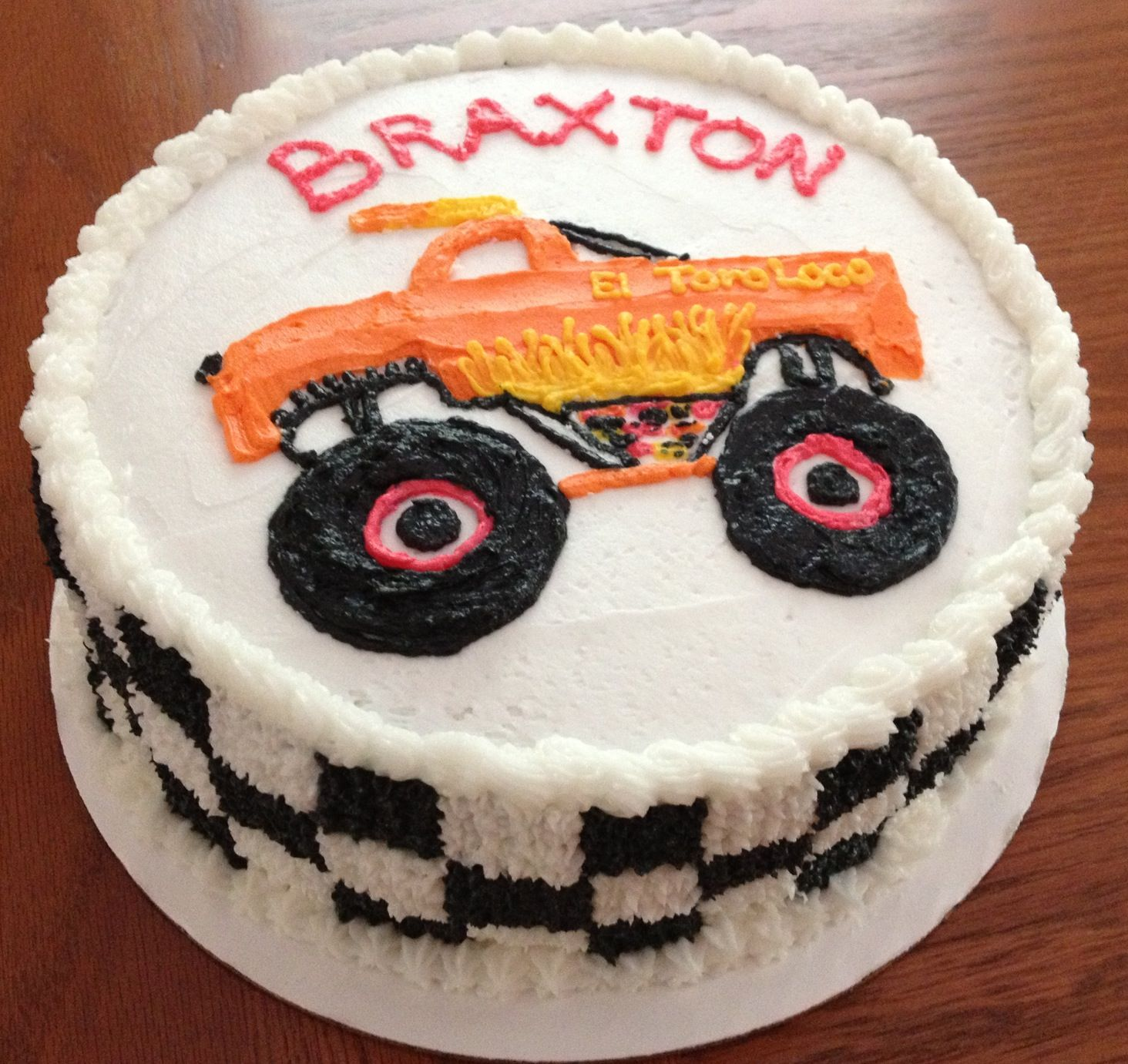 Monster truck El Toro Loco cake I made for my sons 5th birthday