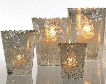 Mercury Glass LARGE Votive Candle Holder Lace With Scalloped Edge