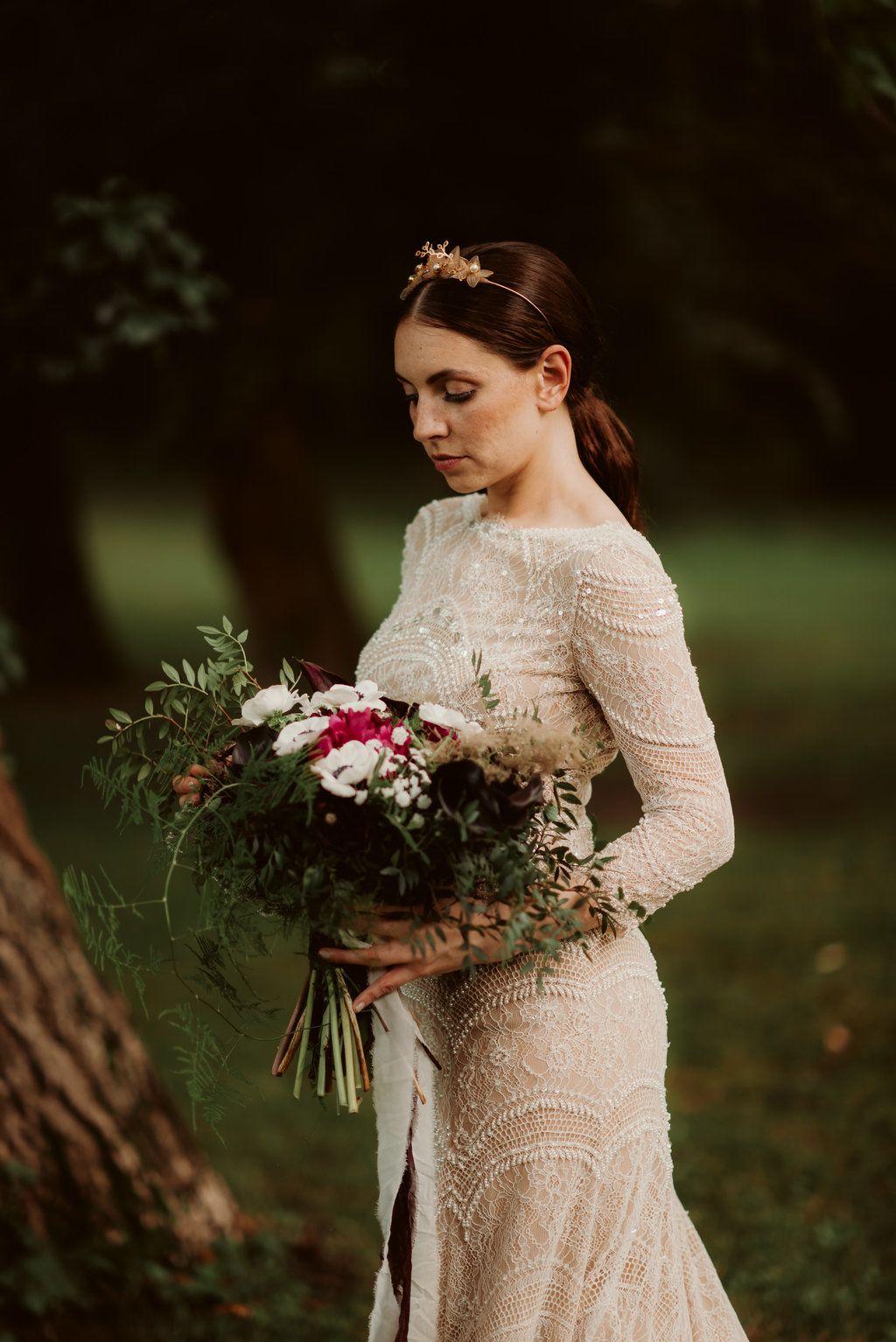 Dark and Moody Burgundy and Greenery Wedding in Austria