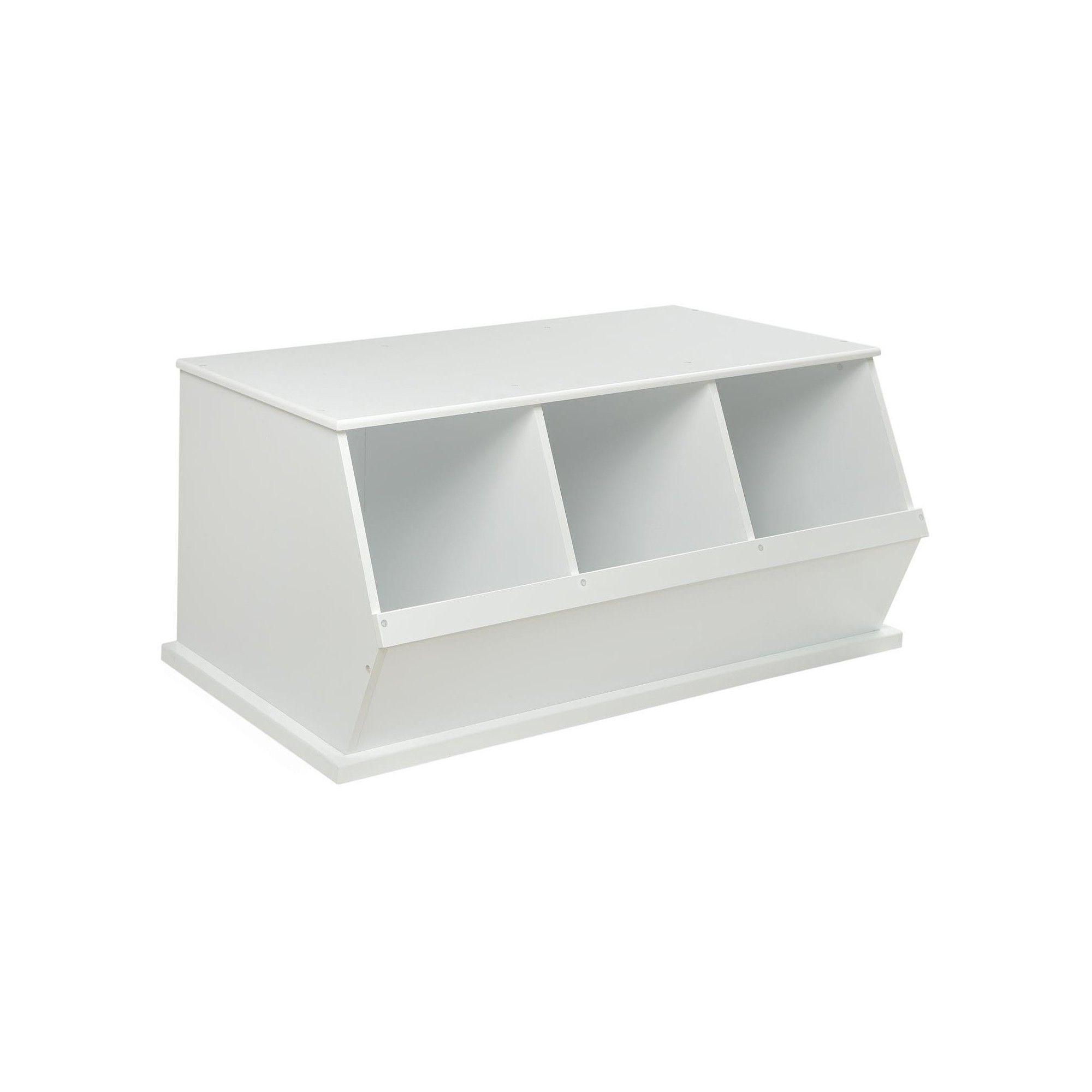 Badger Basket Three Bin Stackable Storage Cubby White In