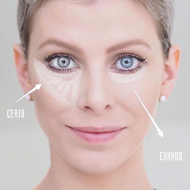A maneira certa de passar corretivo é em formato de triângulo! E é bem legal que você passe um corretivo soft claríssimo para iluminar o seu rosto!