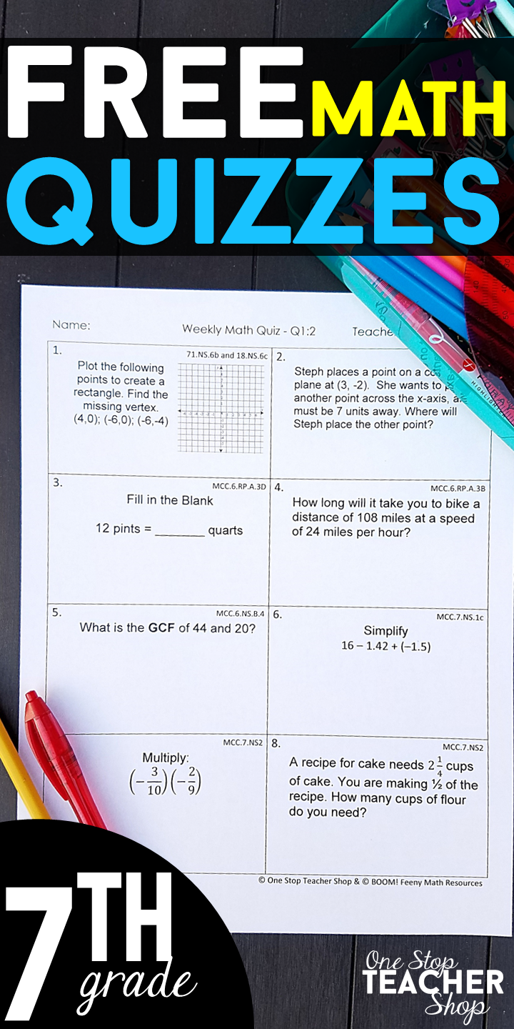 FREE 7th Grade Weekly Math Quizzes. These 7th Grade Math Quizzes are ...