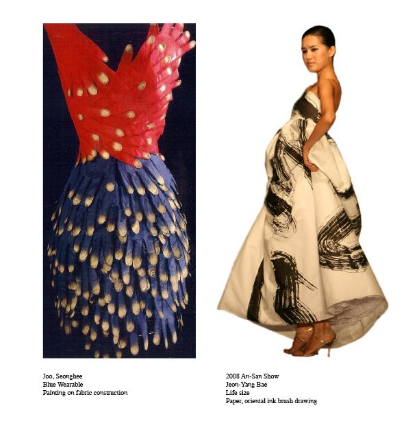 Seonbee Joo (Blue Wearable, Painting on fabric construction) and Jeon-Yang Bae (Life size, Paper, oriental brush drawing)