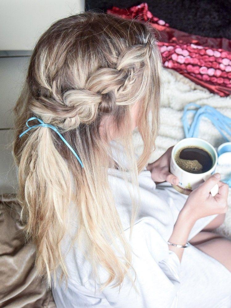 halfup dutch braid with accent braids - frisuren für