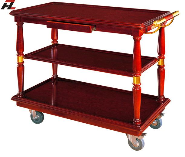 Restaurant Food Serving Trolley With Drawers Serving Cart