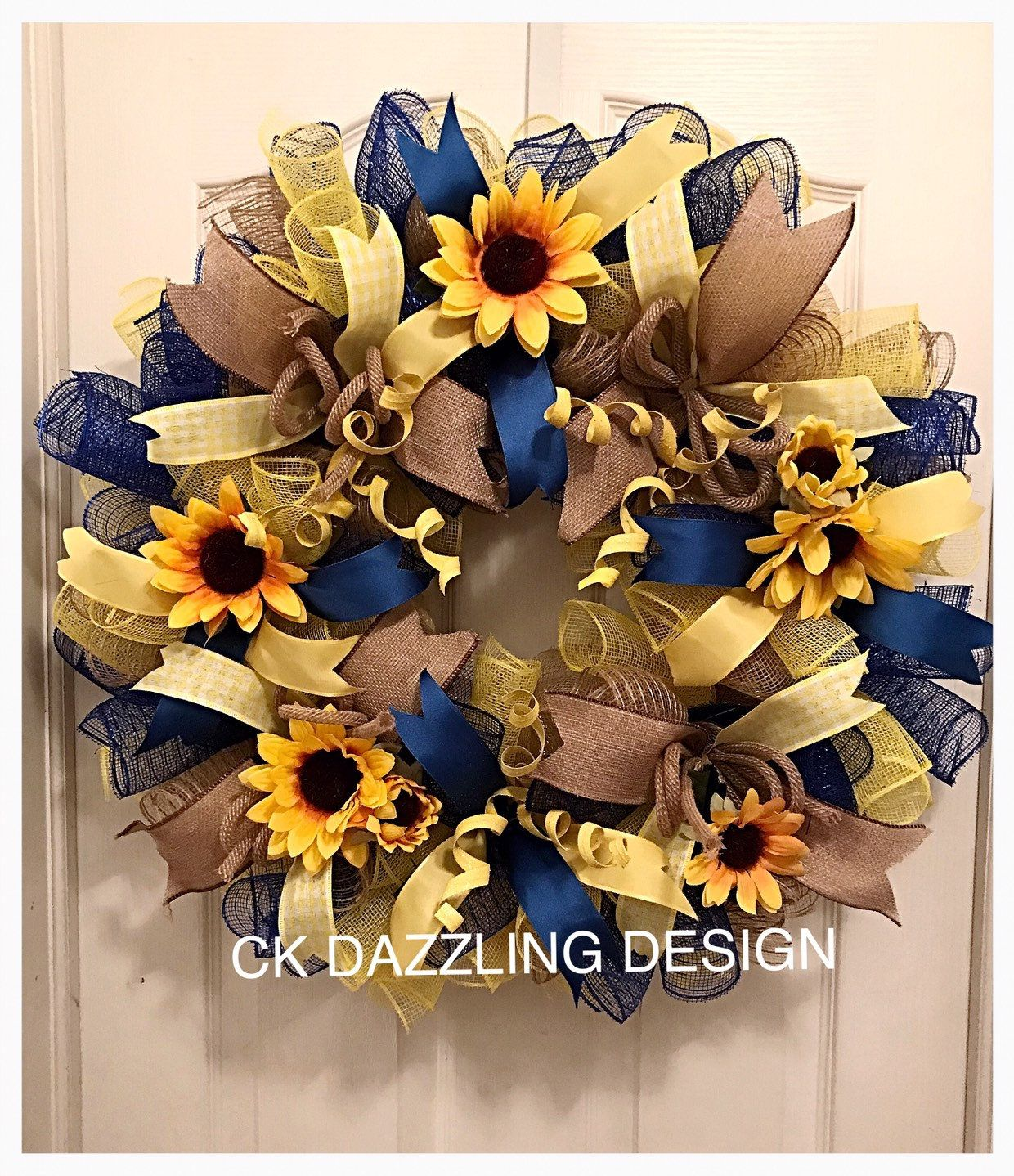 Sunflower Blue, Burlap and Yellow Deco Mesh Wreath/Sunflower Wreath/Burlap Sunflower Wreath/SpringWreath/Summer Wreath/Fall Wreath