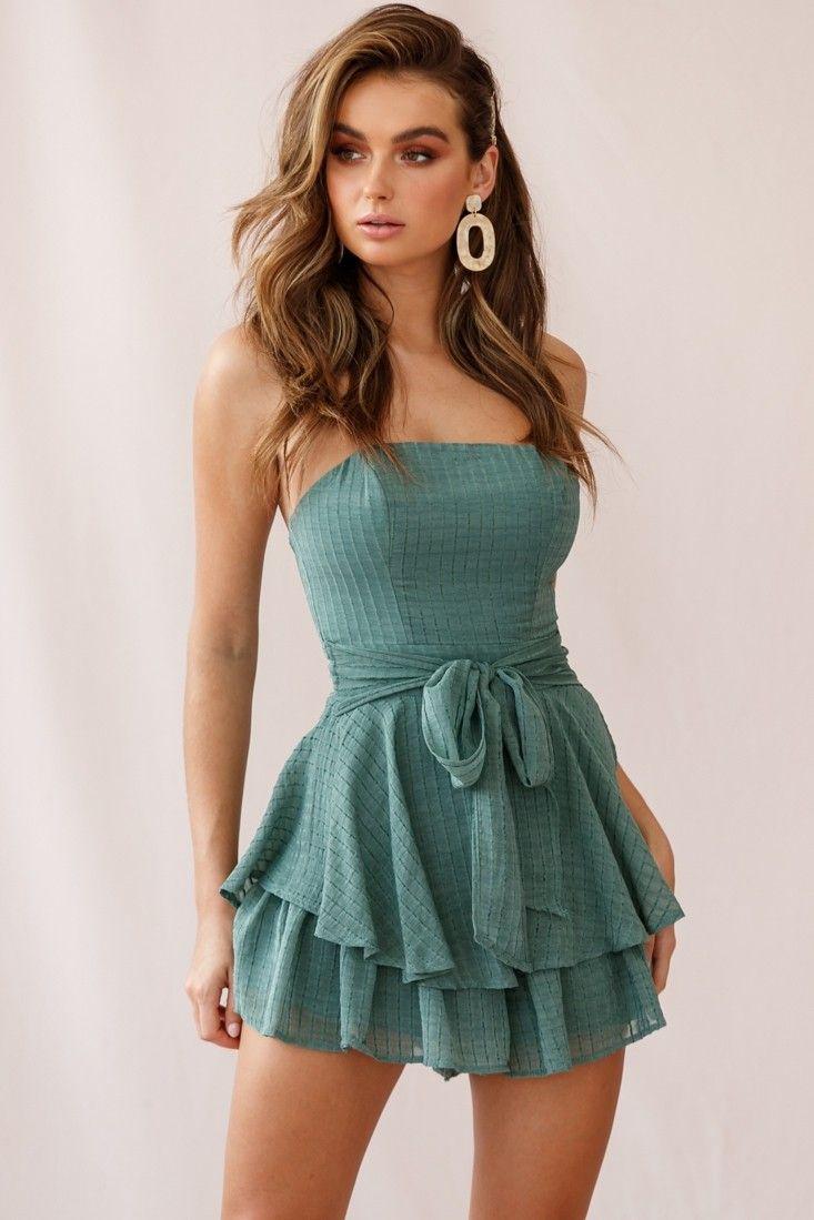 Mollina Frill Sleeve Tassel Hem Dress Olive