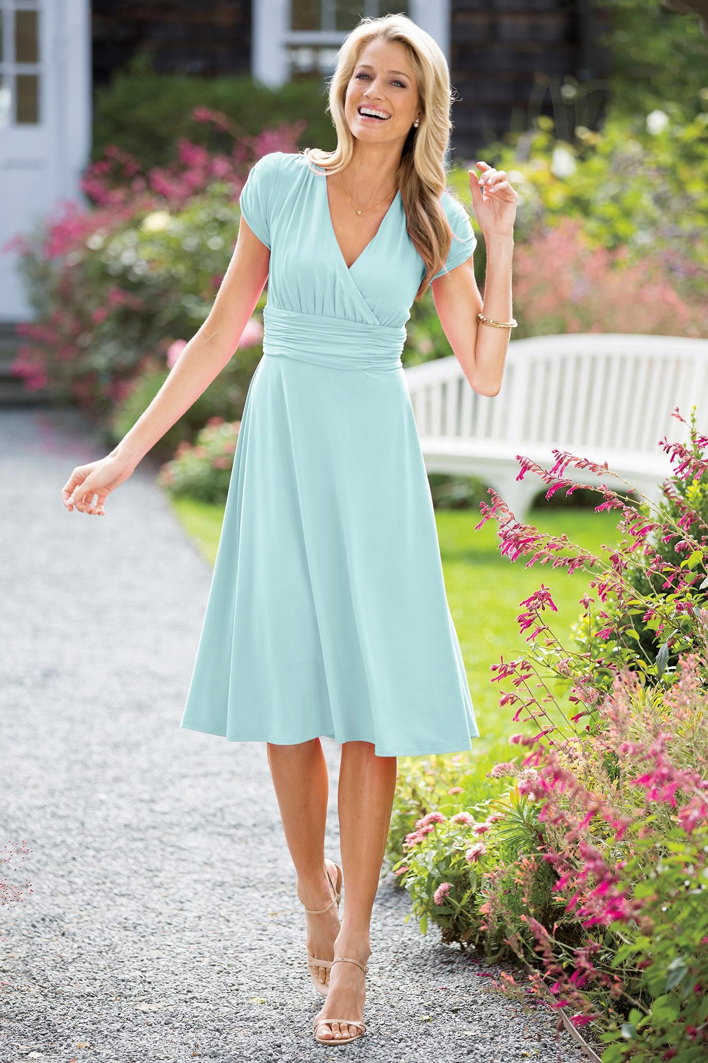 Ruched Short Sleeve Dress in Mint Chadwicks of Boston