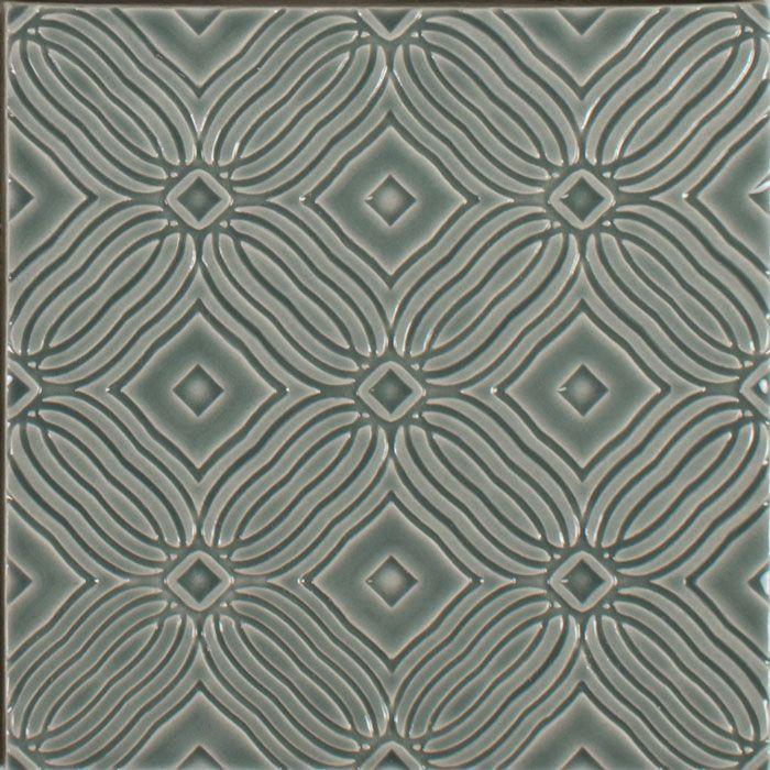 American Handmade Decorative Ceramic Tile Wall Backsplash Relief Gloss Green Embossed