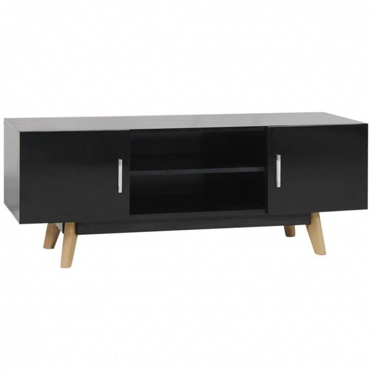 Black Retro Tv Unit Wooden Gloss Media Console Stand Table Cabinet Shelves Doors