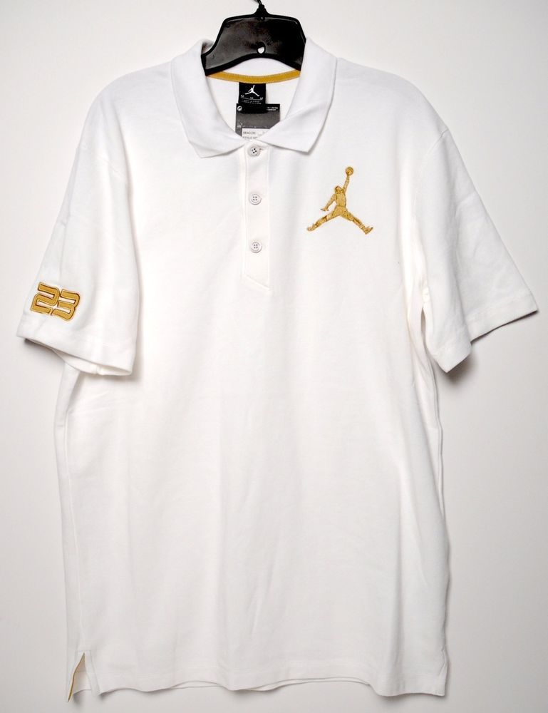 55e2a16bc56 Nike Air Jordan Polo Golf Shirt White Gold Jumpman Size M Medium #Nike  #ShirtsTops