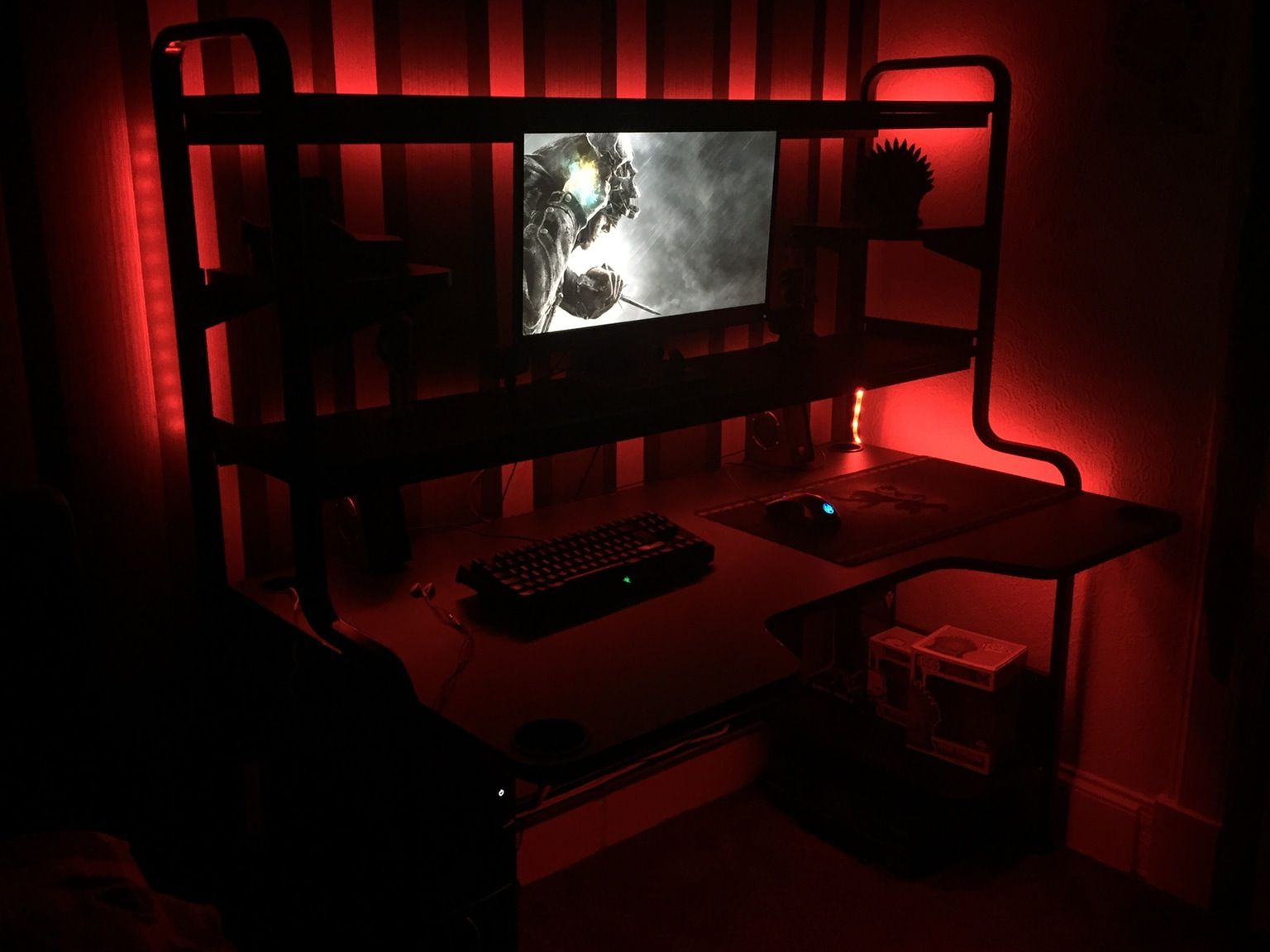 Loving My New Ikea Fredde Desk With Dioder Led Lights And Harte Usb Led Lamp Man Cave Is Coming Together Nicely Gaming Room Setup Room Setup Homer Office