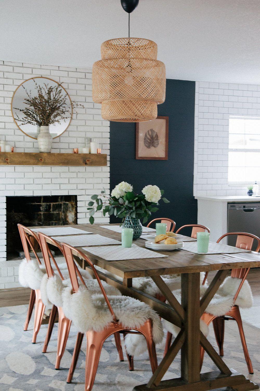 Orlando Interior Designer Home Renovation Before And After Copper Dining Room Dinning Chandelier